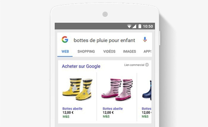 Google shopping - exemple d'affichage