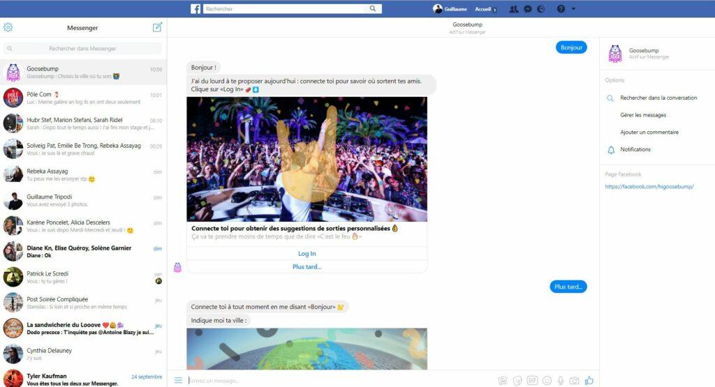 Screenshot interface de Facebook Messenger