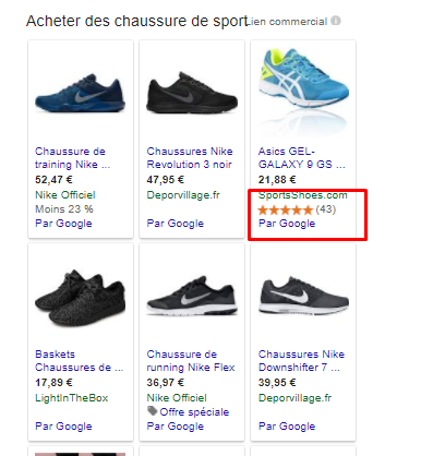 Aperçu de la notation sur Google Shopping