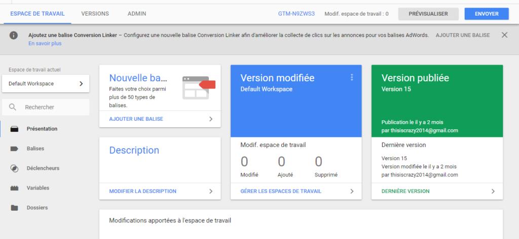 Aperçu Google Tag Manager