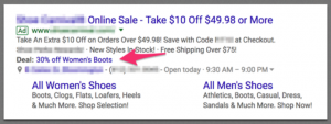 Extension Adwords promotion