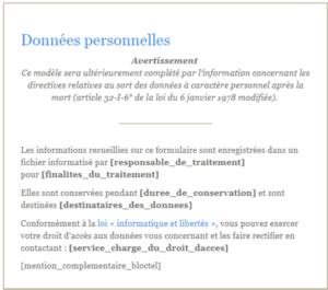 mentions légales formulaires de collecte de données personnelles