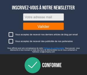 Autre exemple de formulaire d'inscription à des newsletters conforme rgpd