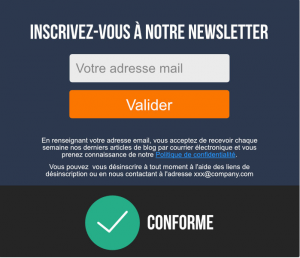 Exemple de formulaire d'inscription à des newsletters conforme rgpd