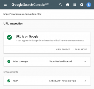 inspection url google search console