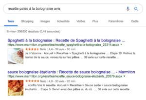 rich snippet recherche google