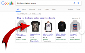 Showcase Shopping Ads apparaissant sur Google