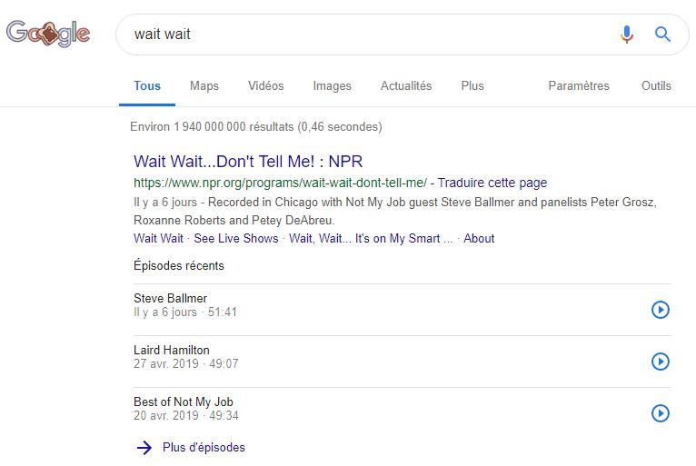 Les Podcasts dans les SERPs desktop Google