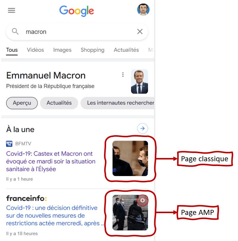 exemple amp sur Google