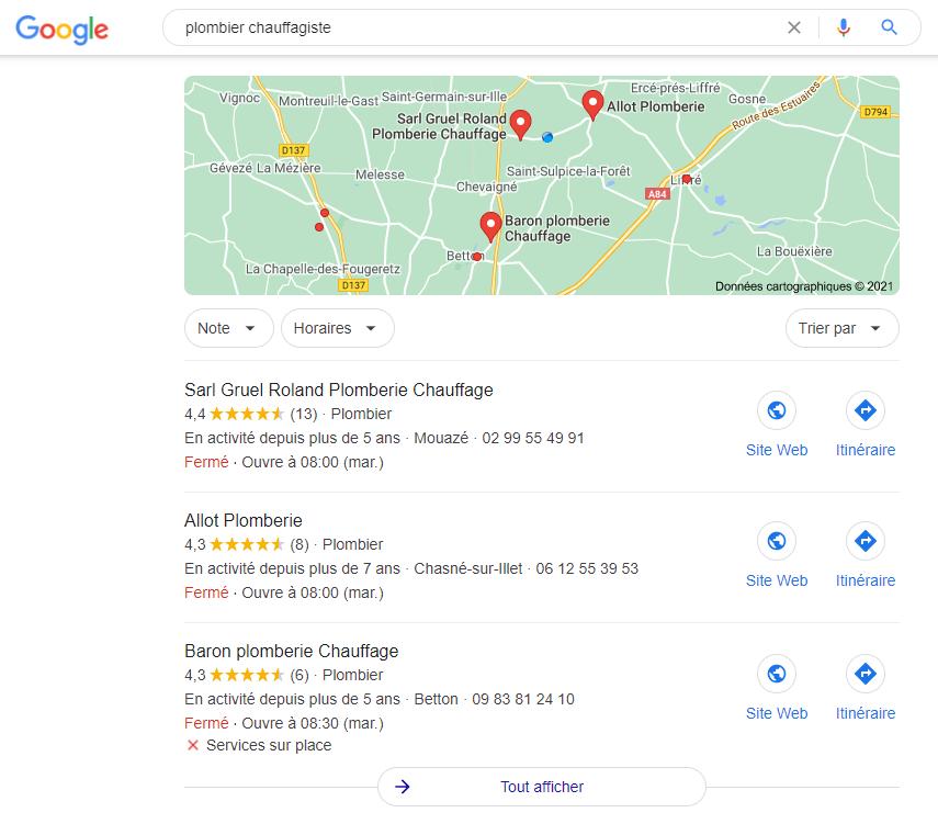 affichage carte et 3 résultats pour pack local