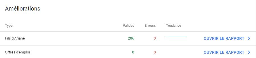 Améliorations détectées par Google Search Console