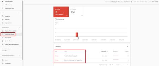 Ergonomie mobile dans Google search console