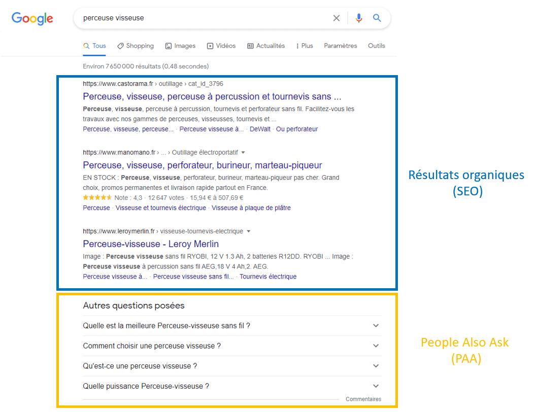 page résultat google