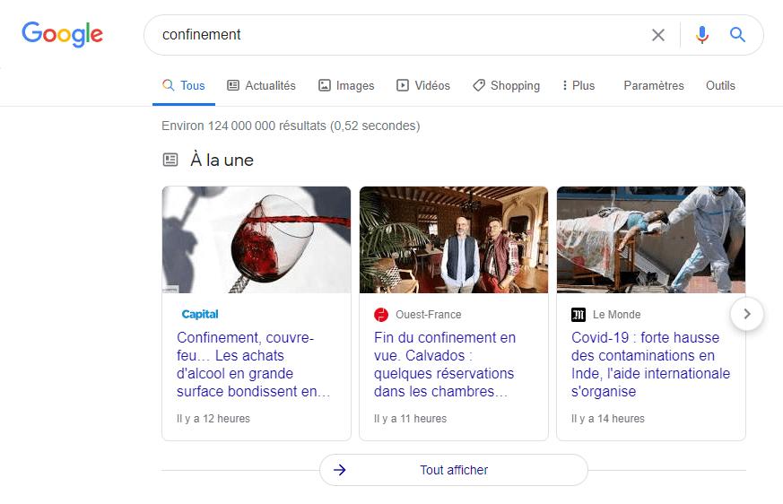 SERP google news