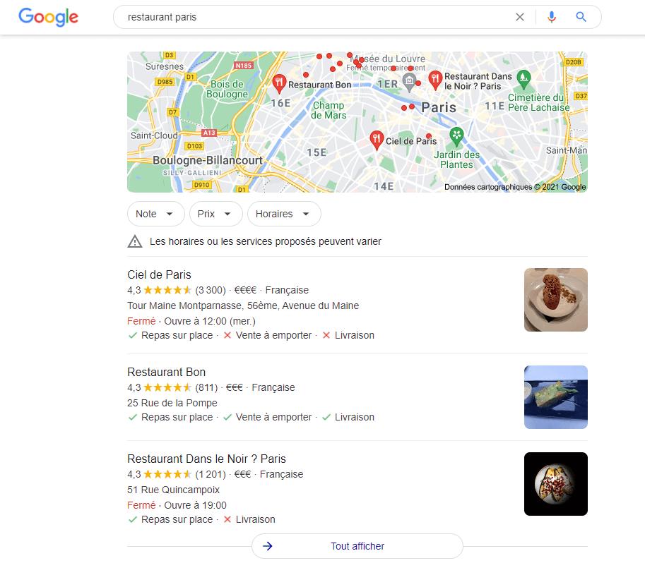 SERP Google Maps